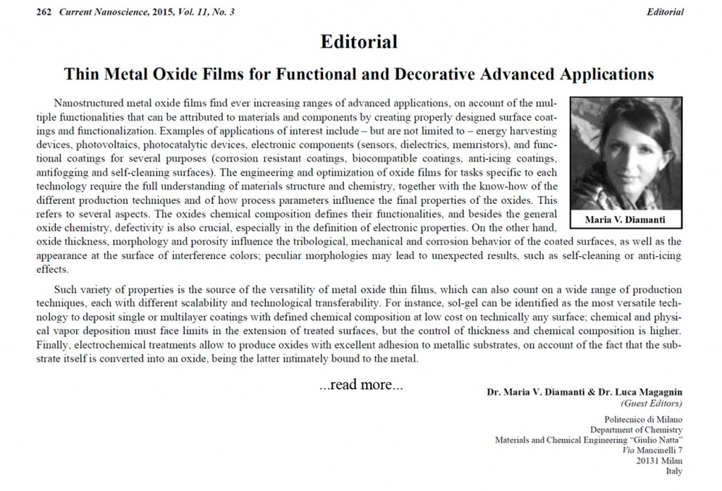 Current Nanoscience - Special issue: Thin Metal Oxide Films for Functional and Decorative Advanced Applications - See more at special issue website. Guest editors: Maria Vittoria Diamanti, Luca Magagnin